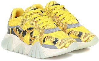 Versace Squalo mesh and leather sneakers