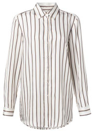 Ya-Ya Stripes And Rounded Hem Long Blouse - 10 - White/Blue/Black