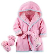 Carter's Flamingo Robe and Bootie Set in Pink