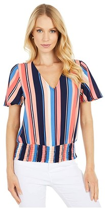 MICHAEL Michael Kors Court Stripe Smoked Blouse (Coral Peach) Women's Clothing