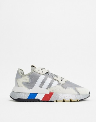 adidas nite jogger sneakers in silver