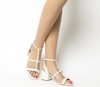 Office Midnight Studded Strappy Heels Off White Leather Gold Studs