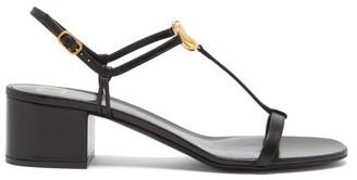 Valentino V-logo Block-heel Leather Sandals - Black