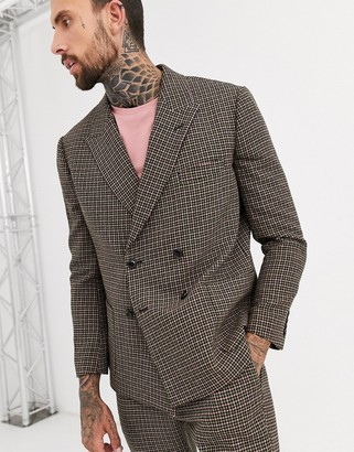 ASOS DESIGN boxy double breasted suit jacket in green and pink houndstooth