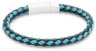Tateossian Sterling Silver Leather Braided Bracelet