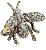Kenneth Jay Lane Antique Gold and Crystal Bee Adjustable Ring