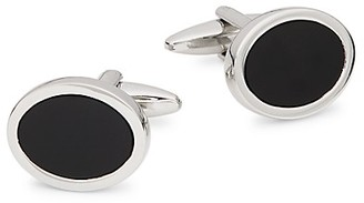 Saks Fifth Avenue Silvertone Onyx Cufflinks
