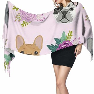 Rcivdkem French Bulldog Soft And Exquisite Winter Gift Cashmere Fringed Scarf Super Thick Winter Warm Scarf Shawl