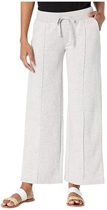 Alternative Pin Tuck Wide Leg Pants in Cotton Modal Fleece (Heather Grey) Women's Casual Pants