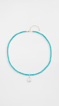 Mateo 14k Turquoise Beaded Choker with Pearl Charm