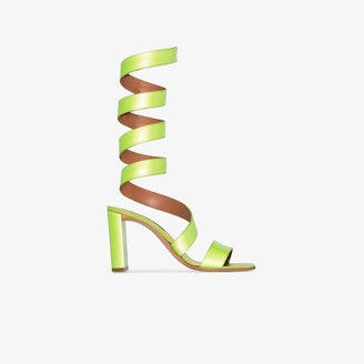 Y/Project Lime Green 100 Wrap-Around Leather Sandals