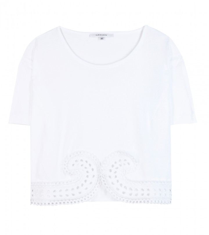Carven Cropped cotton top with broderie anglaise