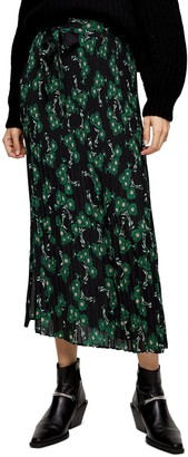 Topshop Archive Crystal Floral Pleated Midi Skirt