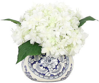 """11"""" Hydrangea in Vase - Faux - NDI - arrangement, white/green; vessel, blue/white"""
