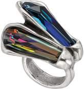 Uno de 50 Micron Silver Meteor Freeform Blue Swarovski Crystal Ring