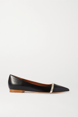 Malone Souliers Maybelle Metallic-trimmed Leather Point-toe Flats - Black