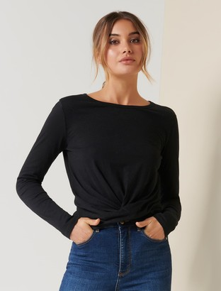 Forever New Willow Long-Sleeve Twist Tee - Black - l