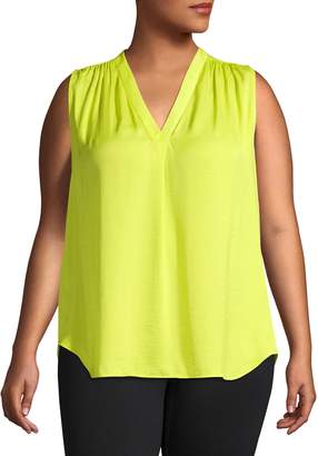 Vince Camuto Plus V-Neck Sleeveless Top