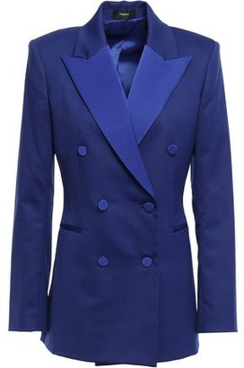 Theory Double-breasted Satin-trimmed Grain De Poudre Tuxedo Jacket