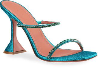 Amina Muaddi Gilda 95mm Glitter Pedestal Sandals