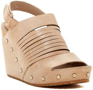 Antelope Leather Slit Cork Wedge Sandal