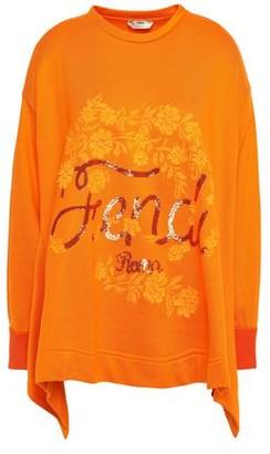 Fendi Asymmetric Embellished French Cotton-terry Sweatshirt