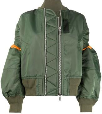 Sacai Contrast-Panel Oversized Bomber Jacket