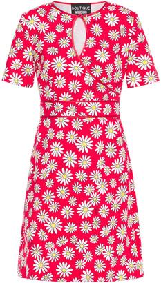 Boutique Moschino Wrap-effect Floral-print Cotton-blend Pique Dress