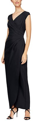 Alex Evenings Long Slimming Cap Sleeve Dress with Surplice Neckline (Black) Women's Clothing
