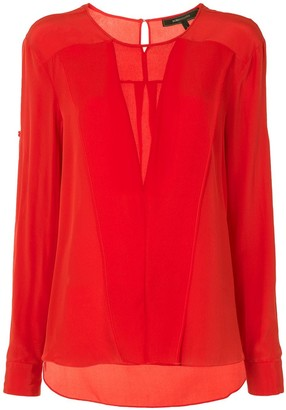 BCBGMAXAZRIA Sheer-Panel Long-Sleeve Blouse