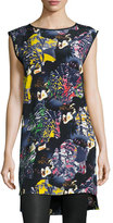Zero Maria Cornejo Tara Abstract-Print Sleeveless Tunic, Blue/Pattern