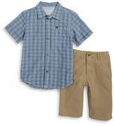 Calvin Klein Boys 2-7 Boys Plaid Sportshirt and Chino Shorts Set