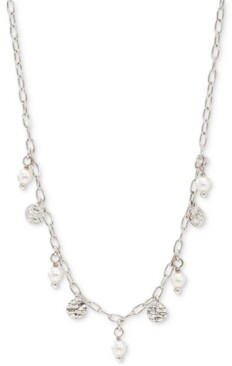 "AVA NADRI Hammered Disc & Imitation Pearl Shaky Statement Necklace, 16"" + 2"" extender"