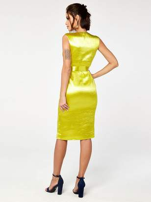 The Girl Code Satin Pleat And Plunge Midi Dress With Waist Tie - Yellow