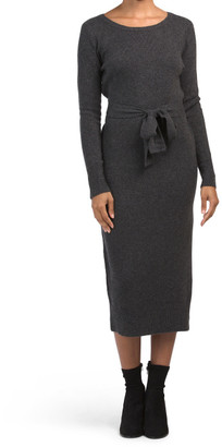 Long Sleeve Belted Recovery Sheath Dress