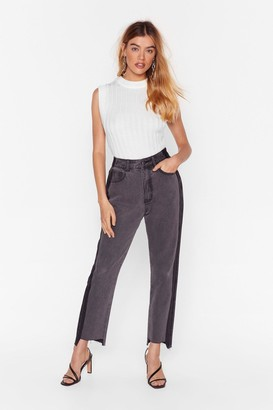 Nasty Gal Womens Side by Side High-Waisted Mom Jeans - Grey - 4, Grey