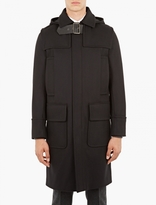 Valentino Black Wool Buckle-Collar Duffle Coat
