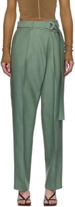 Helmut Lang Green Silk Wrap Trousers