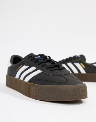 adidas black and white gum sole Samba Rose trainers