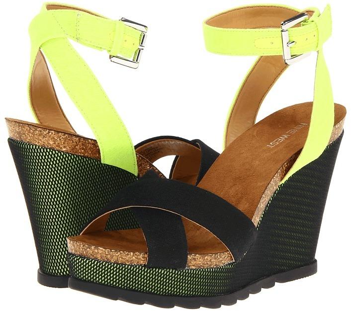 Nine West Lumin (Black/Green Leather) - Footwear