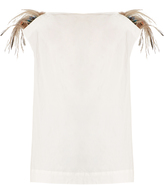 Isa Arfen Feather-trimmed cotton-blend top