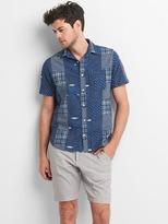 Gap Indigo patchwork shirt