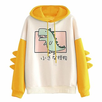 Gofodn Pullover Hoodie for Women Sweatshirts Casual Loose Plus Size Dinosaur Patchwork Long Sleeve Tops Yellow