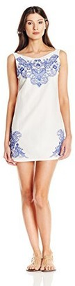 OndadeMar Women's Rosenthal Blue Cotton Voile Embroidered Cover Up Dress