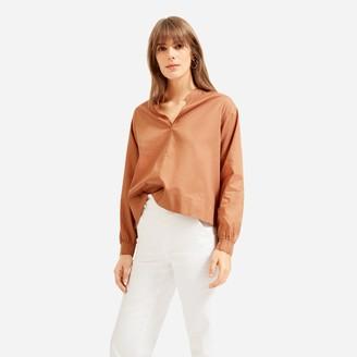 Everlane The Silky Cotton Split-Neck Blouse