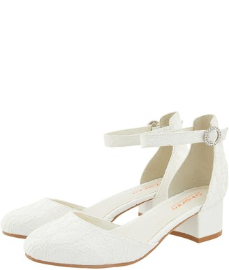 Monsoon Girls Storm Everleigh Ivory Lace Two Part Shoe - Ivory
