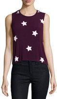Spiritual Gangster Star-Print Sutra Muscle Tank Top, Aubergine