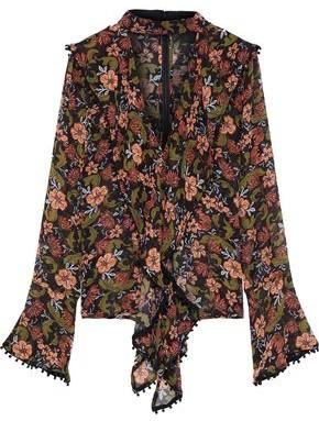 Nicholas Cutout Draped Floral-print Silk-crepe Blouse