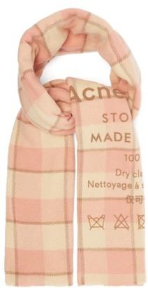 Acne Studios Cassiar Logo-print Wool Scarf - Womens - Pink