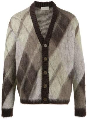 Paura Diamond patterned knit cardigan